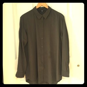 Uniqlo Olive Button-up Rayon Shirt - XL